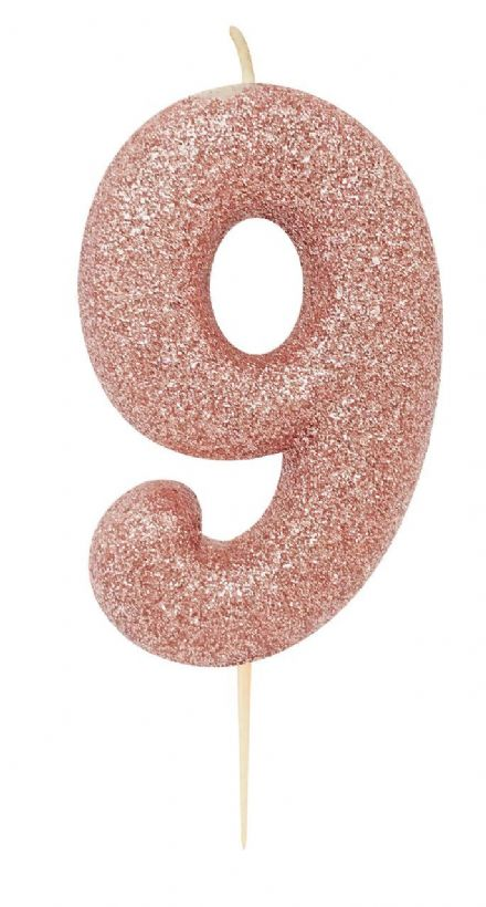Number 9 Rose Gold Glitter Candle